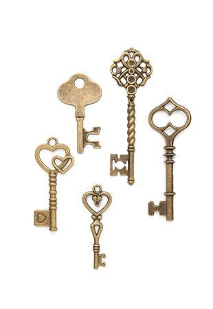 Vintage Keys Collection Isolated On White Background Archivio Fotografico