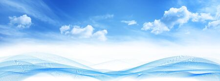 Abstract wave horizontal lines on blue sky clouds background Banque d'images