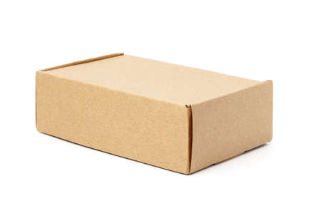 close-up single carton box isolated on white background, brown parcel cardboard box for packages delivery. With clipping path Banco de Imagens