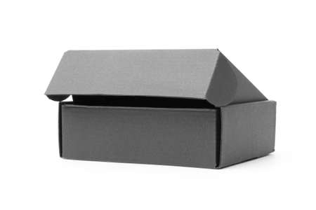 close-up single carton box open empty isolated on white background, black parcel cardboard box for packages delivery. With clipping path