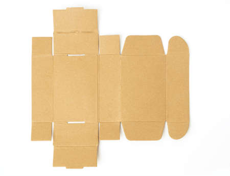 Cut cardboard box isolated on white background. With clipping path