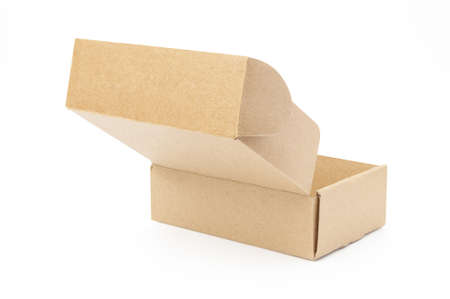 close-up single carton box open empty isolated on white background, brown parcel cardboard box for packages delivery. With clipping path