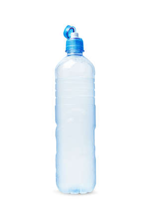 Plastic bottle of drinking water open cap. Isolated on white background. With clipping path.