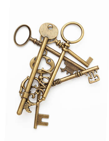 Vintage Keys Collection Isolated On White Background Banco de Imagens