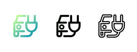 Electric car with a plug. Vector icon.