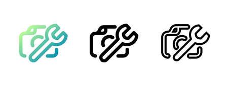 Camera service logo vector icon illustration. Vector icon. Ilustração