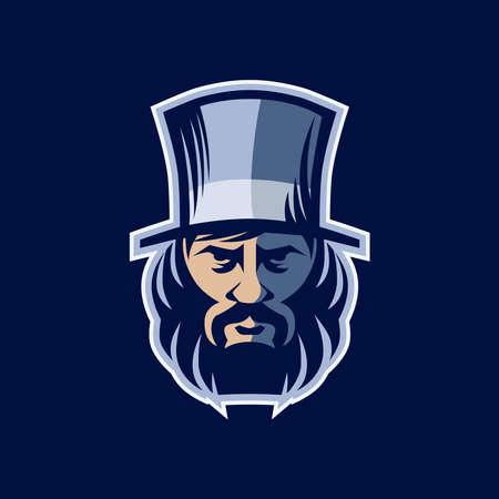 Portrait man with a beard in a vintage hat. Design element for a logo chimney sweep, label, emblem, sign, poster. Vector illustration, sign.