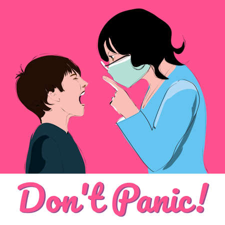 Don't panic. Teacher, woman, mother calm the child. Vectro illustration, poster