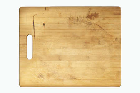 wooden cutting board isolated on a white background.