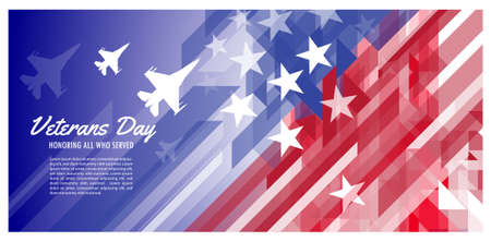 Happy veterans day. Jet fighters on the background of the US flag. Military planes with United States of America flag symbol.