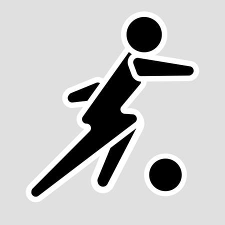 Soccer player solid vector icon. Flat design