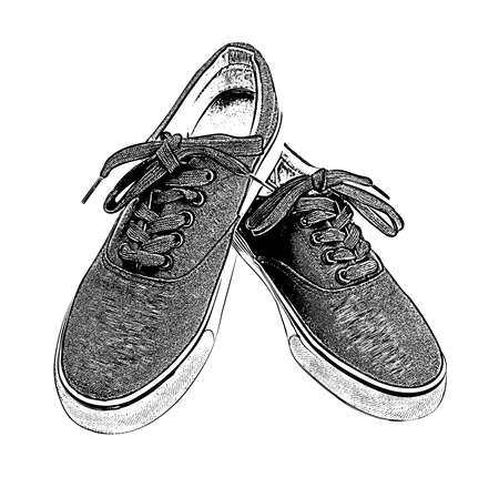 A pair of sneakers with white laces isolated on white background. Classic sports shoes. Sketch engraving style. Vector illustration. Ilustração