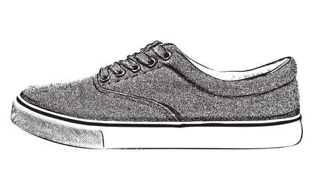 Hand drawn sneakers shoe. Isolated vector illustration. Vector