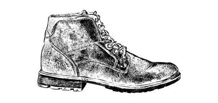 Hand drawn hiking boot. Isolated vector illustration in sketch engraving style. Vector