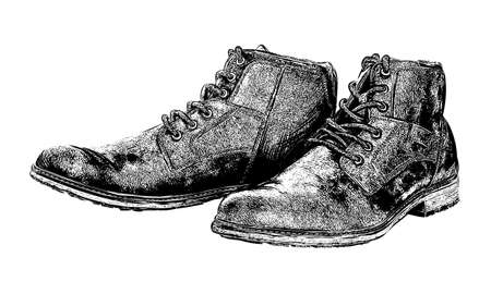 Hand drawn hiking boots. Isolated vector illustration in sketch engraving style. Vector
