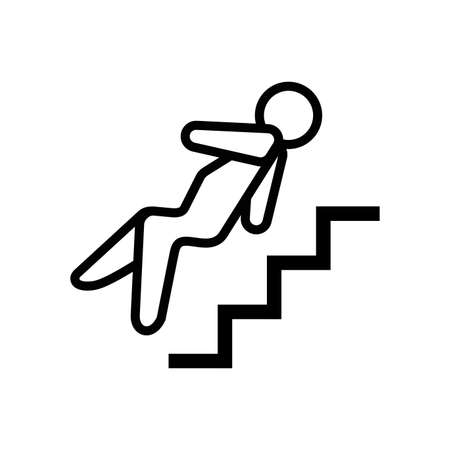 Falling down the stairs outline icon. Man falls from ladder outline icon. Life insurance outline icon.