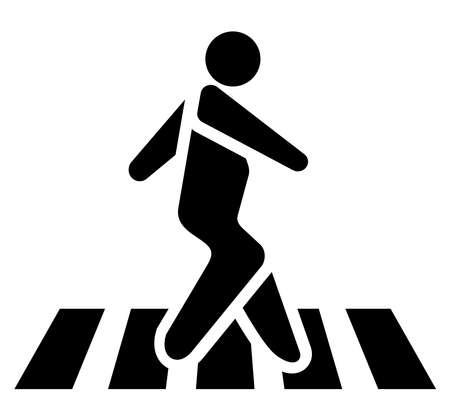 Pedestrian on zebra crossing. Vector Illustration. Isolate on white background Ilustração