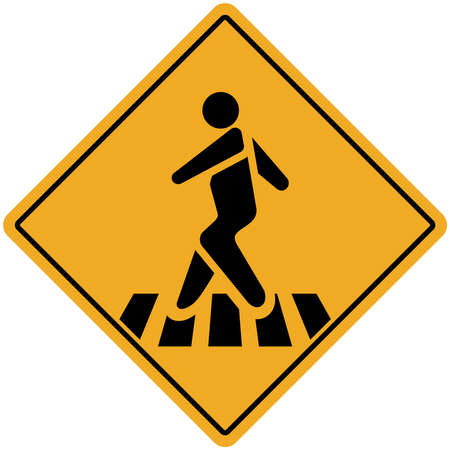 Pedestrian Crossing Warning Road Sign. Vector Illustration. Isolate on white background