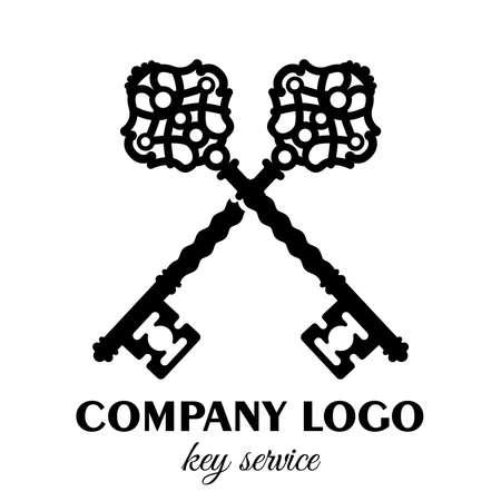 Vintage key label. Old keys emblem, retro lock, and key service vector illustration.  decorated by classic ancient filigree ornaments. Ilustração