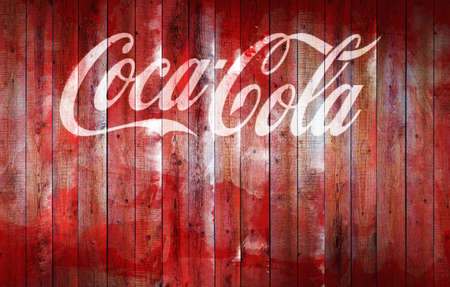 Chisinau, Moldova - September 7, 2020: old Coca Cola logo on a wooden fence illustration