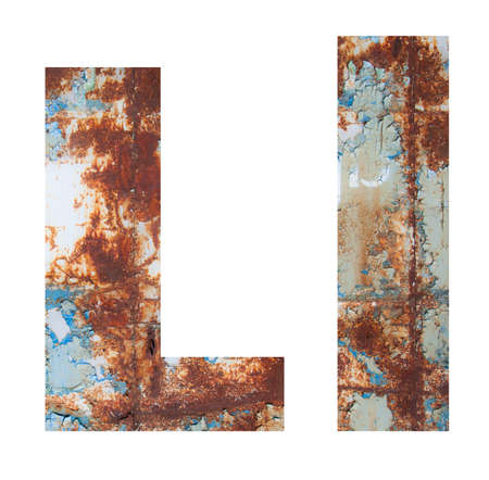 Rusty metal letter L. Old metal alphabet isolated on white background.