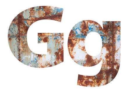 Rusty metal letter G. Old metal alphabet isolated on white background.
