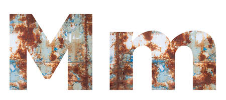 Rusty metal letter M. Old metal alphabet isolated on white background.
