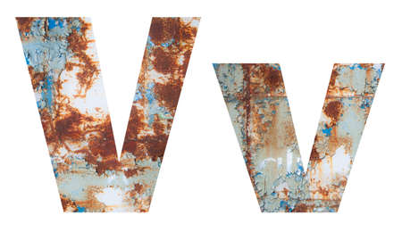 Rusty metal letter V. Old metal alphabet isolated on white background.