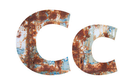 Rusty metal letter C. Old metal alphabet isolated on white background.