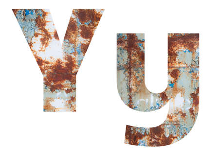 Rusty metal letter Y. Old metal alphabet isolated on white background. Banco de Imagens