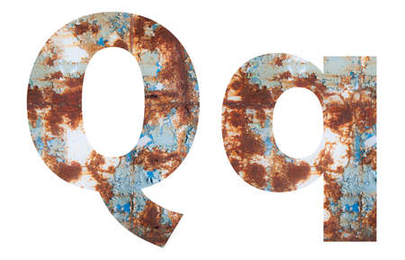 Rusty metal letter Q. Old metal alphabet isolated on white background.