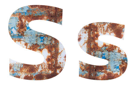 Rusty metal letter S. Old metal alphabet isolated on white background.