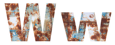 Rusty metal letter W. Old metal alphabet isolated on white background.