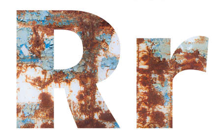 Rusty metal letter R. Old metal alphabet isolated on white background.
