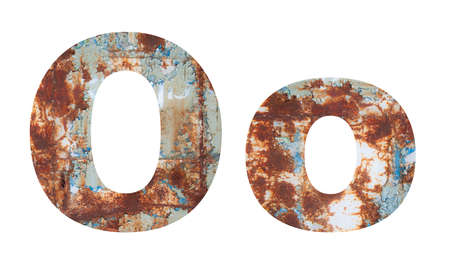 Rusty metal letter O. Old metal alphabet isolated on white background.
