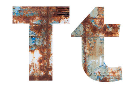 Rusty metal letter T. Old metal alphabet isolated on white background.