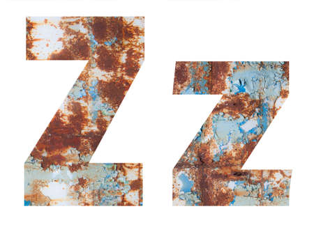 Rusty metal letter Z. Old metal alphabet isolated on white background.