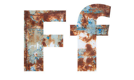 Rusty metal letter F. Old metal alphabet isolated on white background.