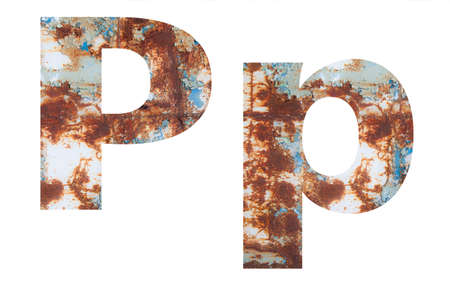 Rusty metal letter P. Old metal alphabet isolated on white background. Banco de Imagens