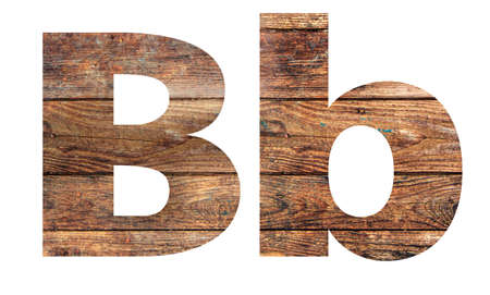 Wooden letters. Letter B. English alphabet isolated on white background. Banco de Imagens