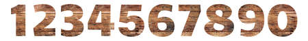 Old Wooden numbers. 1 2 3 4 5 6 7 8 9 0. Isolated on white background. With clipping path