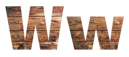 Wooden letters. Letter W. English alphabet isolated on white background.