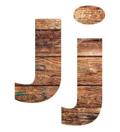 Wooden letters. Letter J. English alphabet isolated on white background. Banco de Imagens