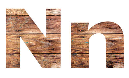 Wooden letters. Letter N. English alphabet isolated on white background. Banco de Imagens