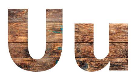 Wooden letters. Letter U. English alphabet isolated on white background. Banco de Imagens