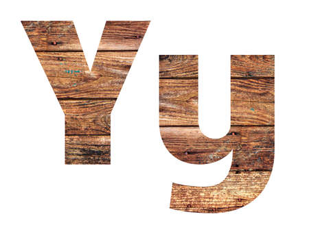 Wooden letters. Letter Y. English alphabet isolated on white background. Banco de Imagens