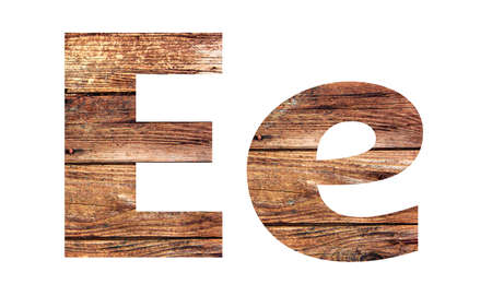 Wooden letters. Letter E. English alphabet isolated on white background.