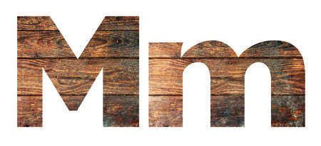 Wooden letters. Letter M. English alphabet isolated on white background.