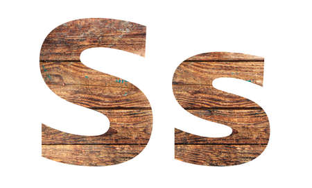 Wooden letters. Letter S. English alphabet isolated on white background. Banco de Imagens