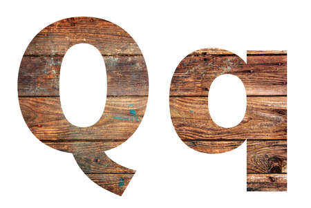 Wooden letters. Letter Q. English alphabet isolated on white background.